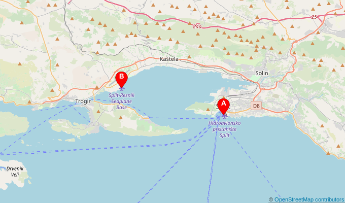 Map of ferry route between Split and Split Airport (Resnik)