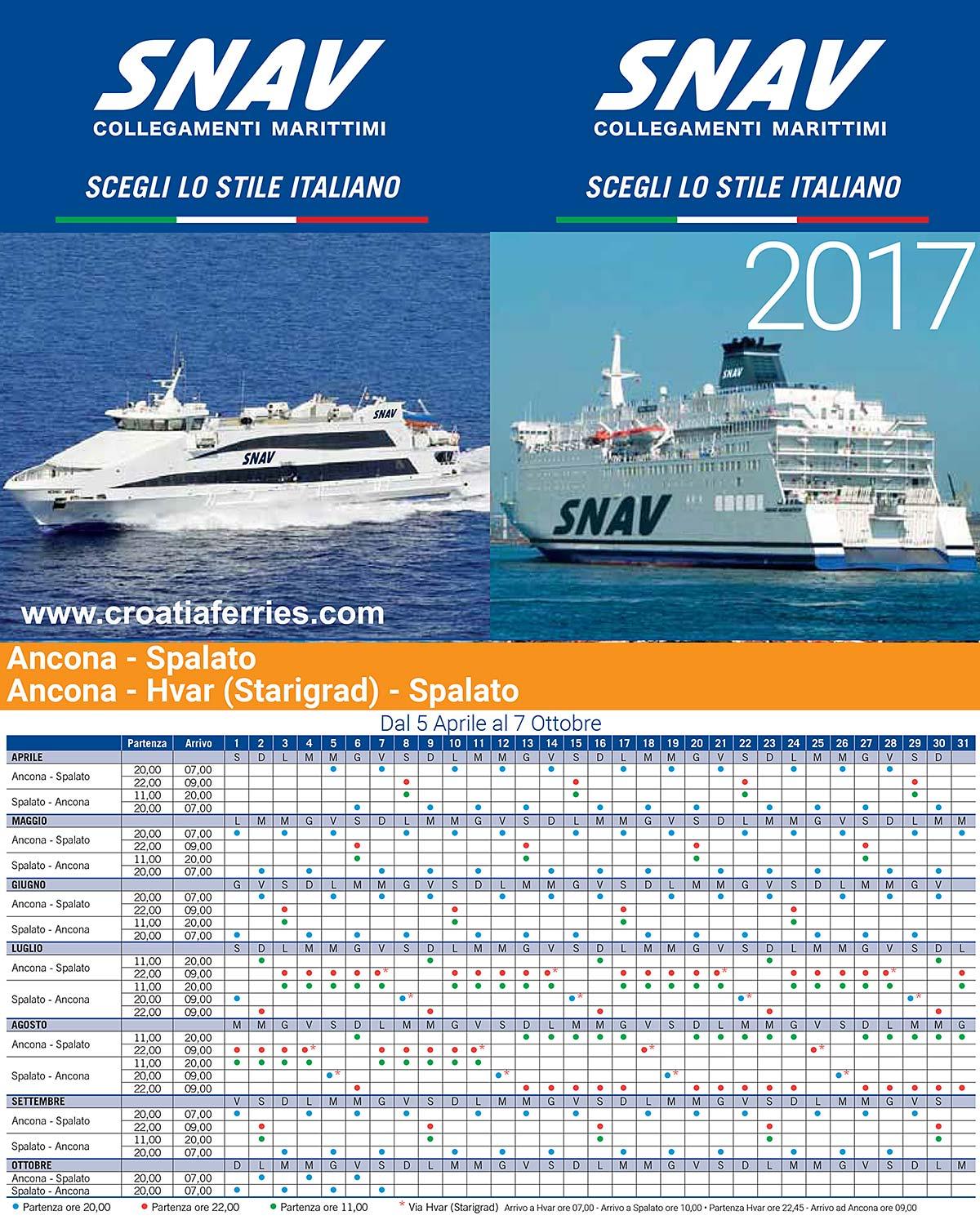 Snav Ferries Schedules for 2017