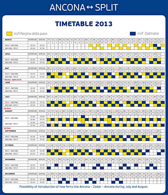 Ancona - Split Ferries Timetables for 2013: