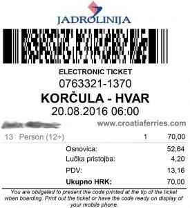 Jadrolinija's E-ticket Catamaran Korcula - Hvar