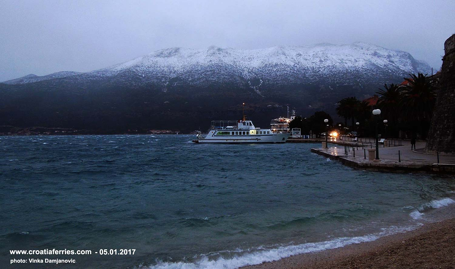 In Adriatic today: A cold front brought snow and high winds around Korcula today; foot passenger ferry Korcula - Orebic this afternoon docking in Korcula port.