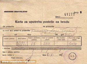 Cabin Ferry Ticket (1959) - Jadrolinija