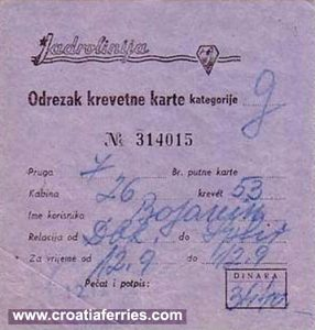 Dubrovnik to Split Ferry Ticket – Jadrolinija (1980s)