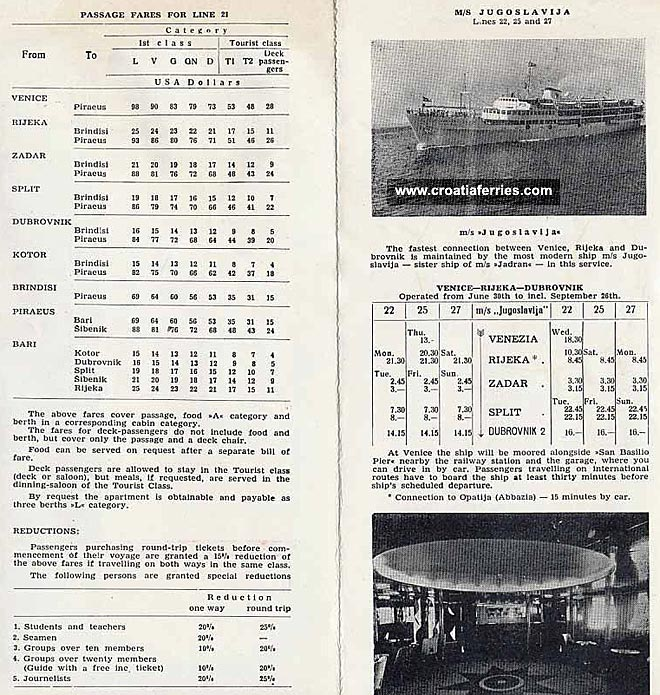 old ferry timetable of jadrolinija