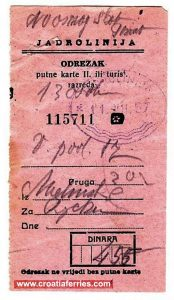 Ferry Ticket Malinska (Krk) to Rijeka (1957)