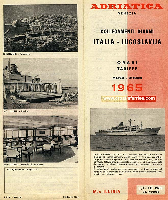 ferry schedules for Vezenia to Dubrovnik ferries from 1965