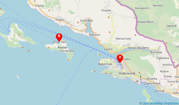 Map of ferry route between Dubrovnik and Kolocep