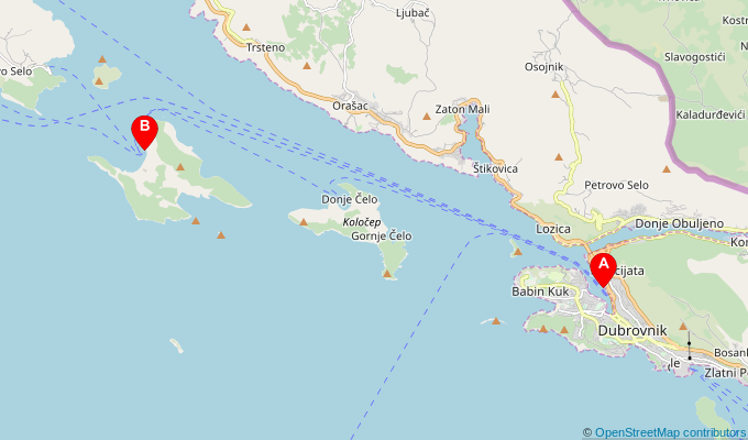 Map of ferry route between Dubrovnik and Lopud
