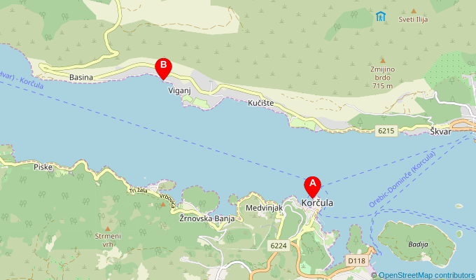 Map of ferry route between Korcula and Viganj