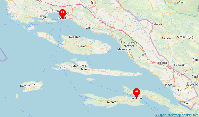 Map of ferry route between Korcula and Split