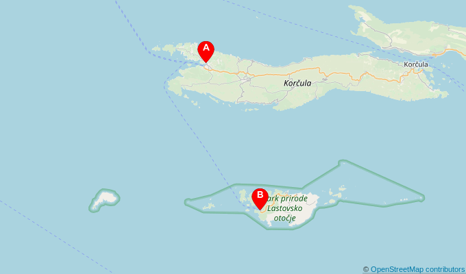 Map of ferry route between Vela Luka and Ubli (Lastovo)