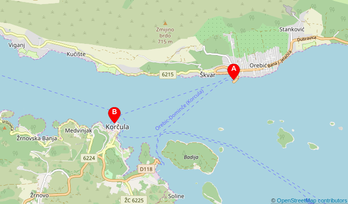Map of ferry route between Orebic and Korcula