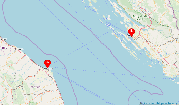 Map of ferry route between Ancona and Zadar