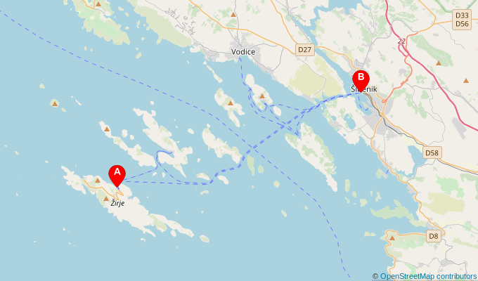 Map of ferry route between Zirje and Sibenik