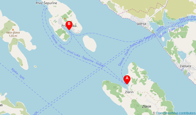 Map of ferry route between Zlarin and Prvic Luka