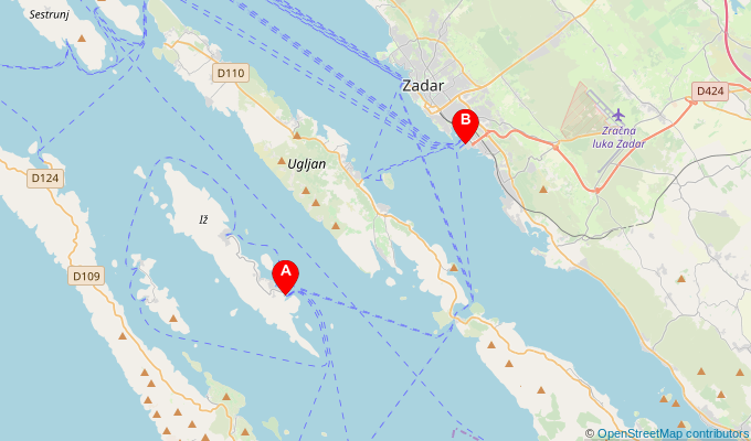 Map of ferry route between Brsanj and Zadar
