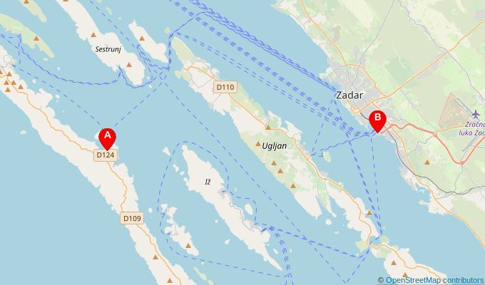Map of ferry route between Brbinj and Zadar