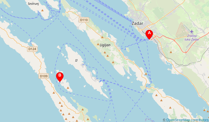 Map of ferry route between Zadar and Rava