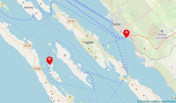 Map of ferry route between Zadar and Mala Rava