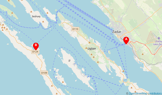Map of ferry route between Zadar and Brbinj