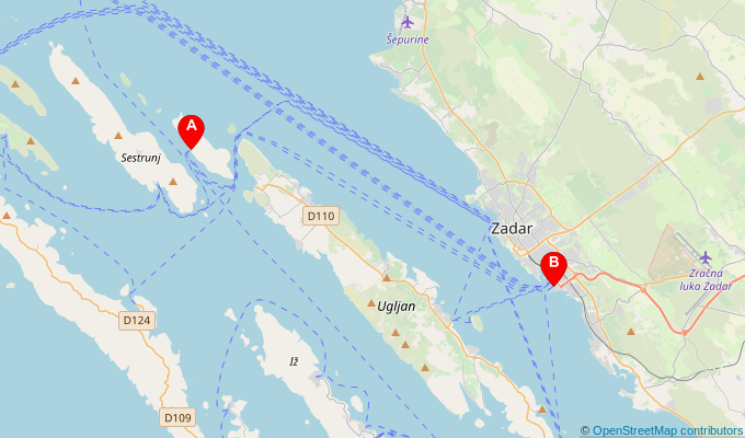 Map of ferry route between Rivanj and Zadar