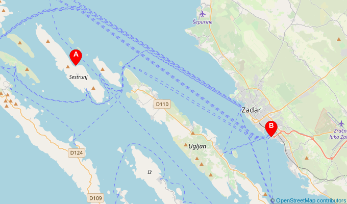 Map of ferry route between Sestrunj and Zadar