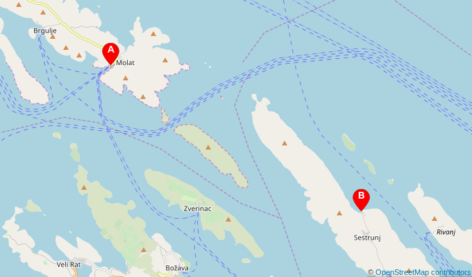 Map of ferry route between Molat and Sestrunj
