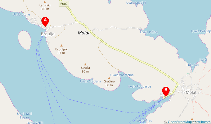 Map of ferry route between Brgulje and Molat