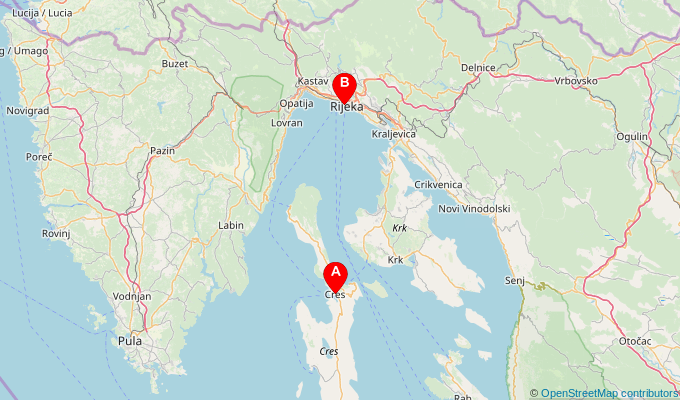Map of ferry route between Cres and Rijeka