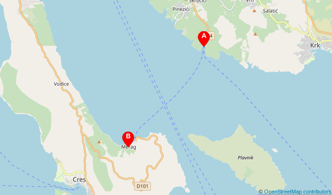Map of ferry route between Valbiska and Merag (Cres)
