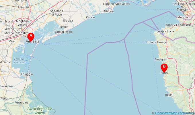Map of ferry route between Venice (Venezia) and Porec