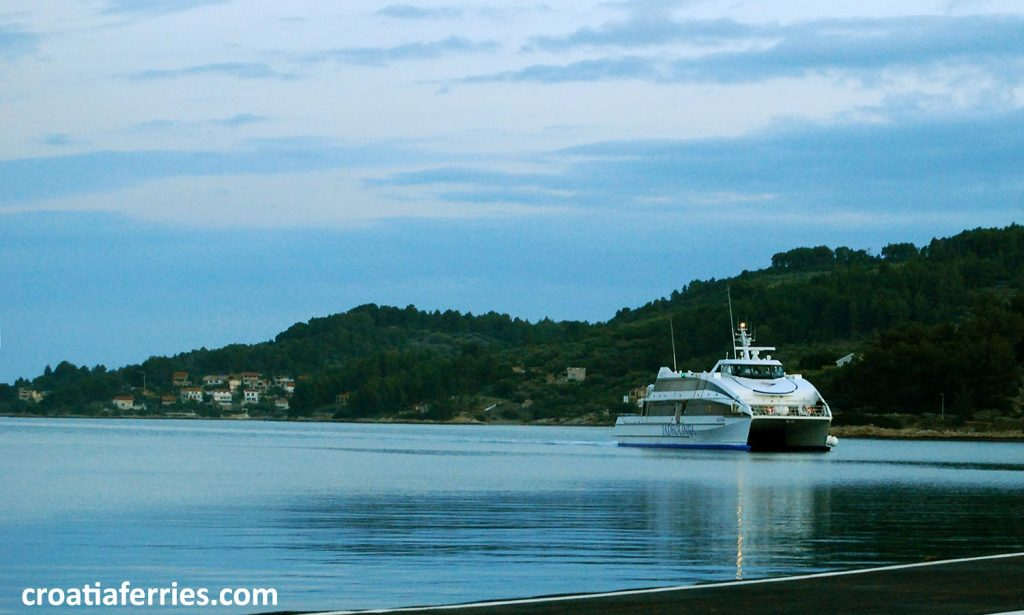 Early morning ferry arriving in Croatian island