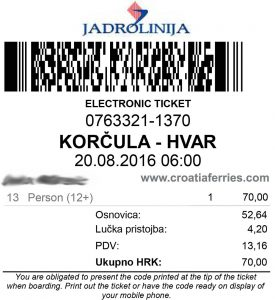 Collection of Ferry Tickets - Croatia Ferries