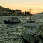 Foot passenger ferries in Adriatic's Summer Sunset