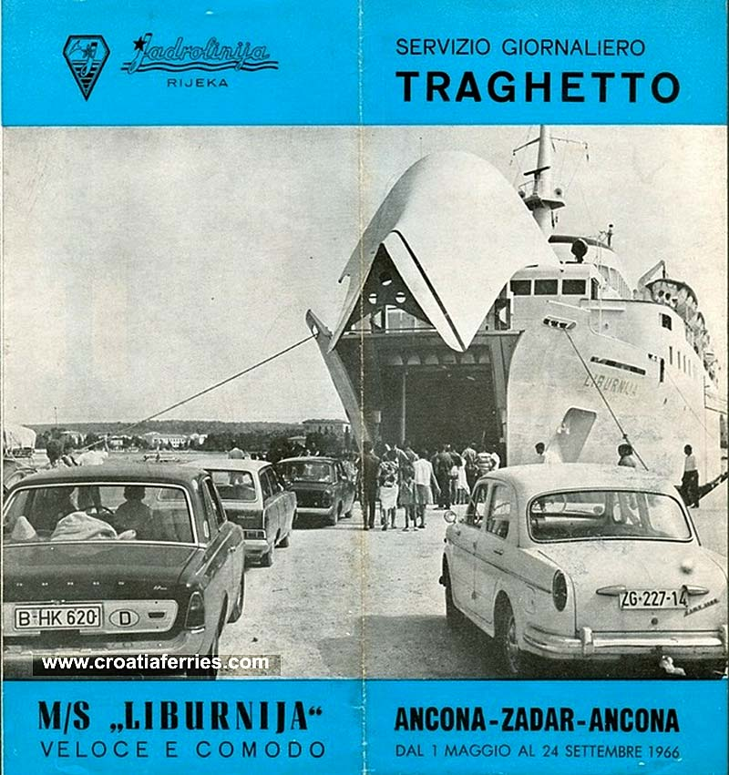 Ancona to Zadar Ferry Brochure from 1966
