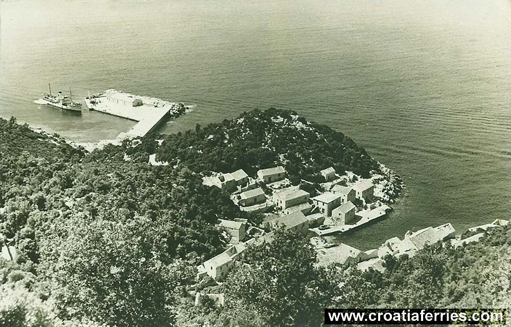Ferry arriving at Lastovo in 1960s