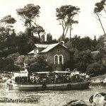 Ferry Boat 'Skala' arriving in Portoč bay, Lokrum Island