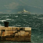 Ferry in the Adriatic - rough seas and strong Bura wind December 2012