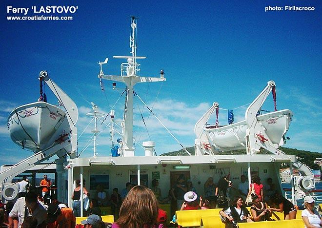 passengers enjoying sunshine on ferry Lastovo