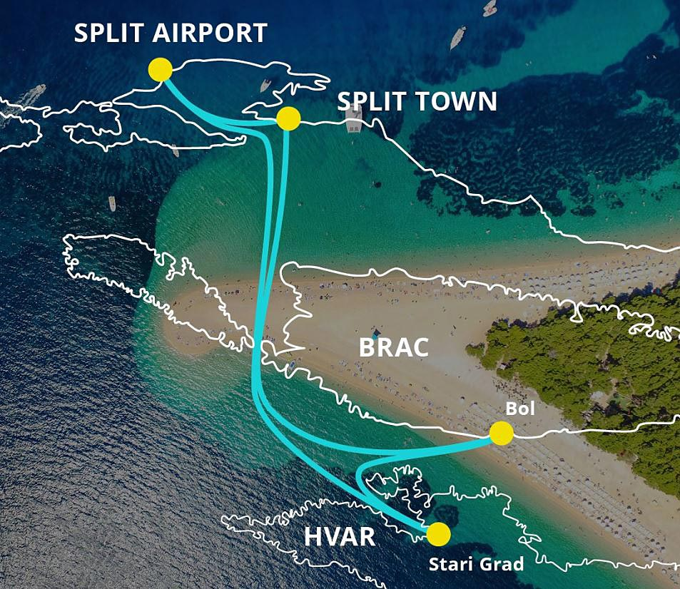 Ferry map - Fast ferry from Split Airport to Brac and Hvar Islands