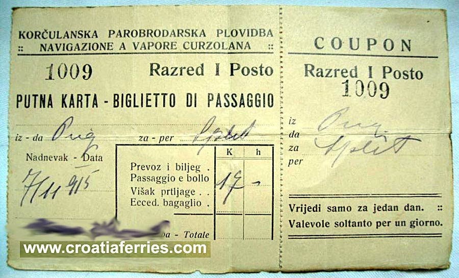 Ferry Ticket Dubrovnik to Split from 1915