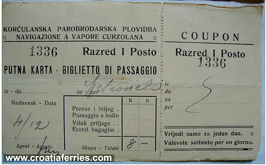 Ferry Ticket Korcula to Metkovic from 1915