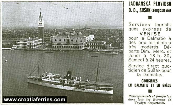 jadranska plovidba venice adver 1937