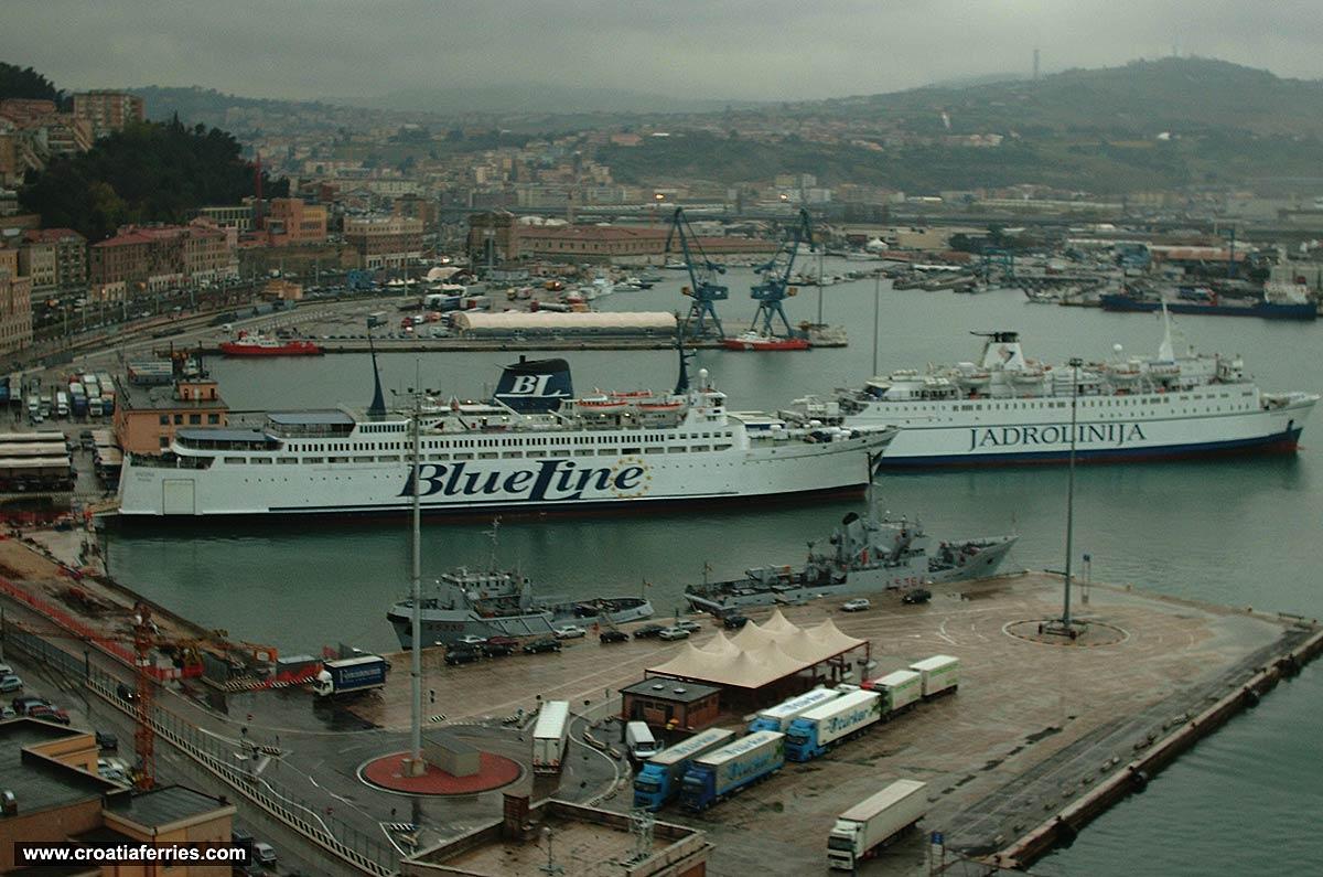 Jadrolinija and Blue Line Ferries in Ancona Ferry Port