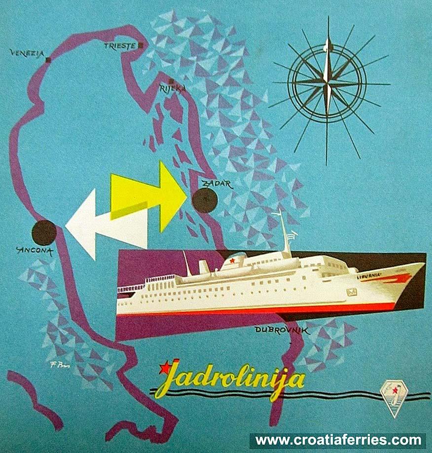 Jadrolinija's Ancona to Zadar Ferry Brochure from 1960s