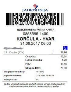 Jadrolinija's E-ticket Catamaran Korcula - Hvar 2017