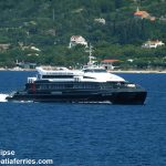 Catamaran ferry Krilo Eclipse passing through the Peljesac channel