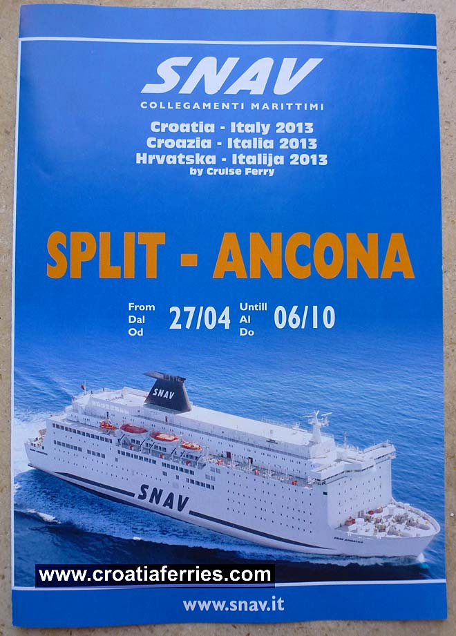 Timetable, schedules and prices for Ancona to Split ferries run by SNAV shipping company