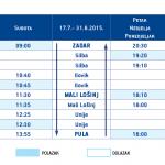 2015 Timetable for catamaran ferry line Zadar - Silba - Ilovik - Mali Losinj - Unije - Pula