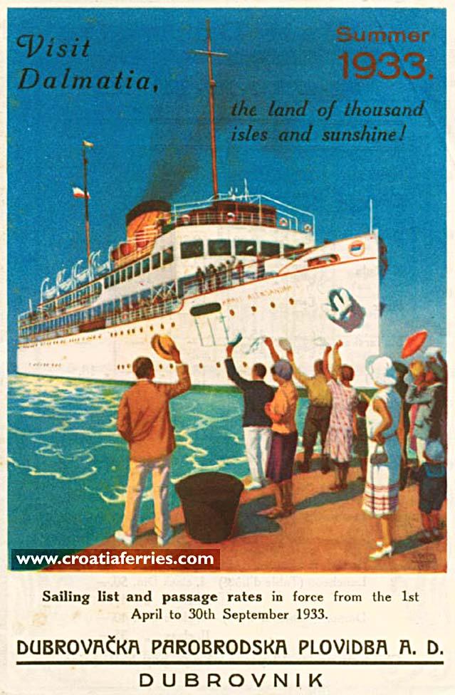 visit dalmatia by ferry in 1933